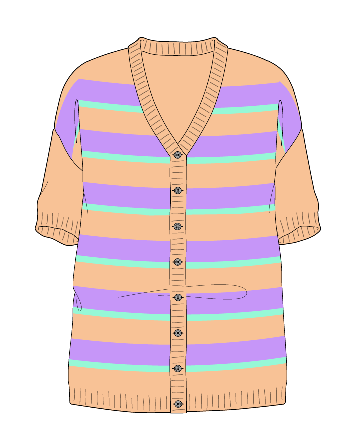 Relaxed fit Full length body V-neck Short sleeve Uneven stripes Uneven stripes Plain dropshoulder-cardigan worsted 42