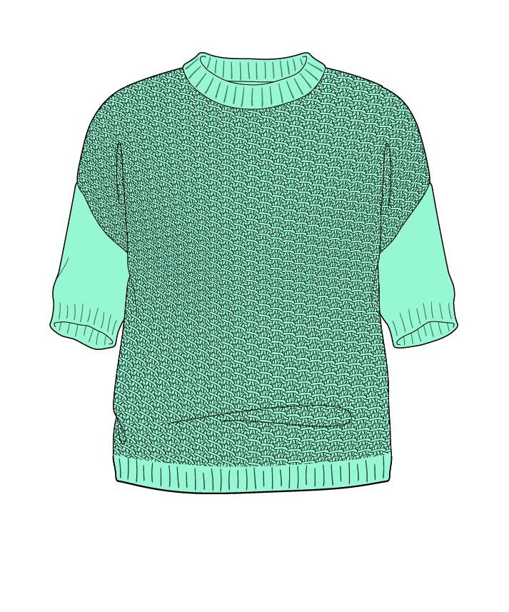 Regular fit Cropped body Crew neck Short sleeve Star stitch Star stitch Plain dropshoulder worsted 42