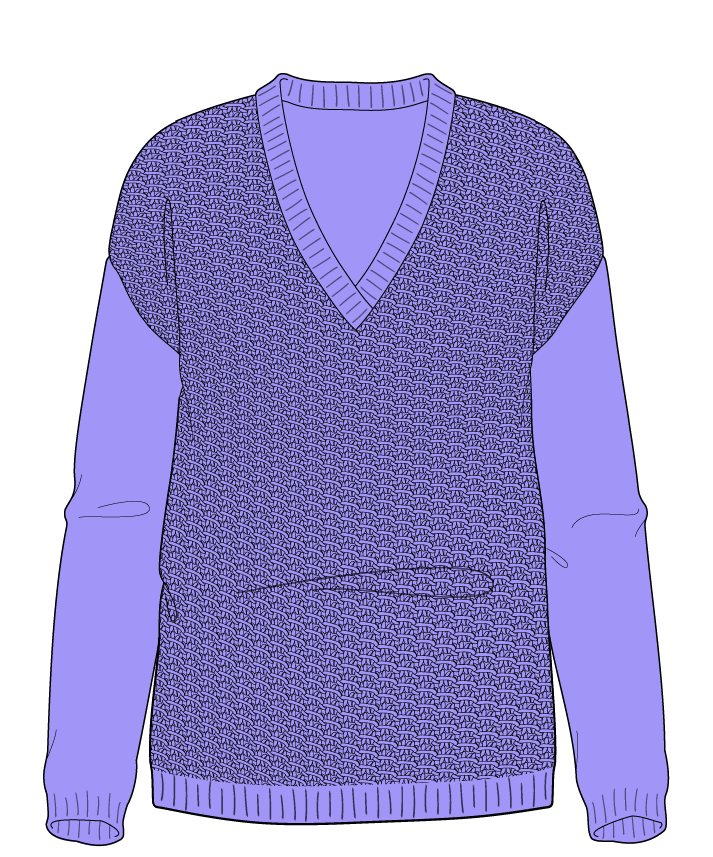 Regular fit Full length body V-neck Long sleeve Star stitch Star stitch Plain dropshoulder sport 50