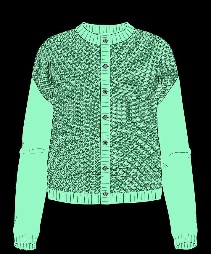 Regular fit Cropped body Crew neck Long sleeve Star stitch Star stitch Plain dropshoulder-cardigan sport 34