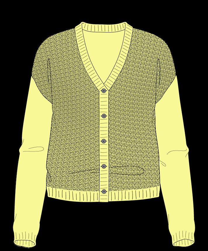 Regular fit Cropped body V-neck Long sleeve Star stitch Star stitch Plain dropshoulder-cardigan sport 38