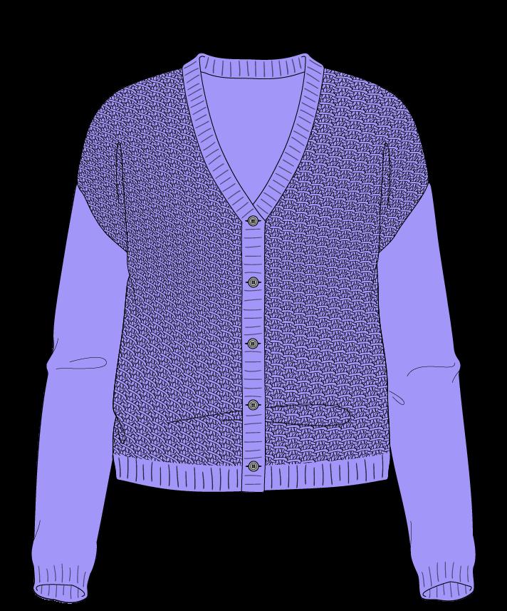 Regular fit Cropped body V-neck Long sleeve Star stitch Star stitch Plain dropshoulder-cardigan worsted 38