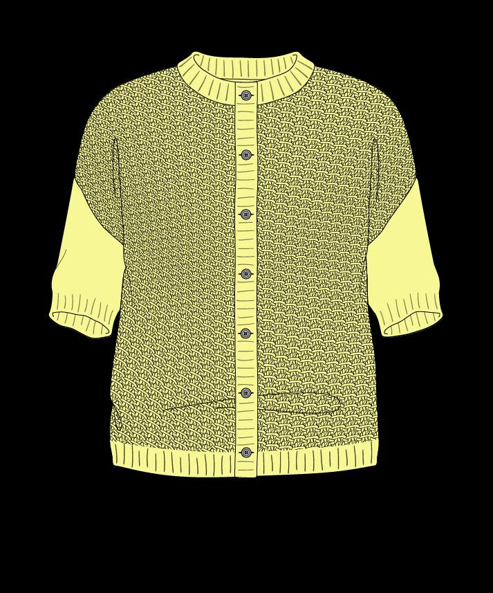 Regular fit Cropped body Crew neck Short sleeve Star stitch Star stitch Plain dropshoulder-cardigan worsted 38