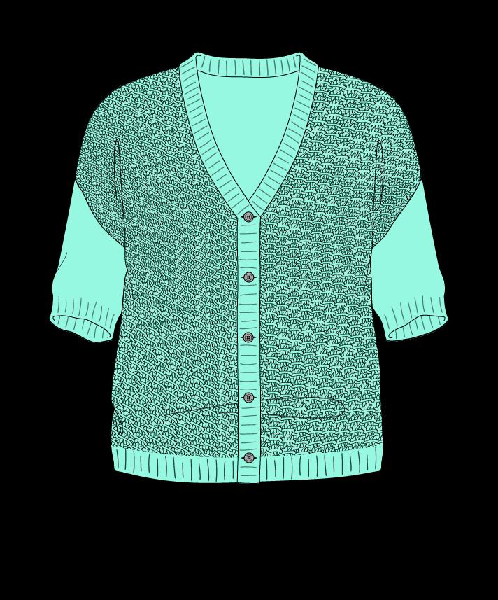 Regular fit Cropped body V-neck Short sleeve Star stitch Star stitch Plain dropshoulder-cardigan sport 50