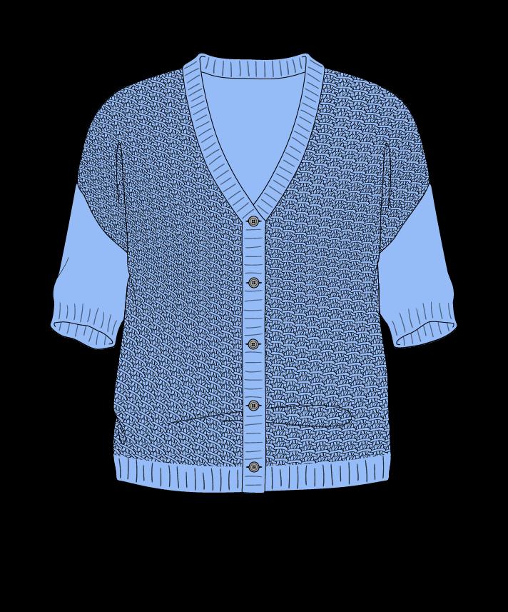 Regular fit Cropped body V-neck Short sleeve Star stitch Star stitch Plain dropshoulder-cardigan worsted 42