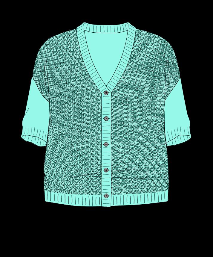 Relaxed fit Cropped body V-neck Short sleeve Star stitch Star stitch Plain dropshoulder-cardigan sport 30