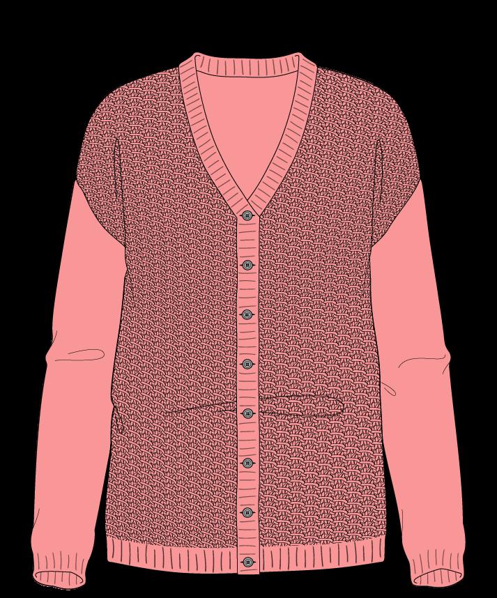Regular fit Full length body V-neck Long sleeve Star stitch Star stitch Plain dropshoulder-cardigan sport 50