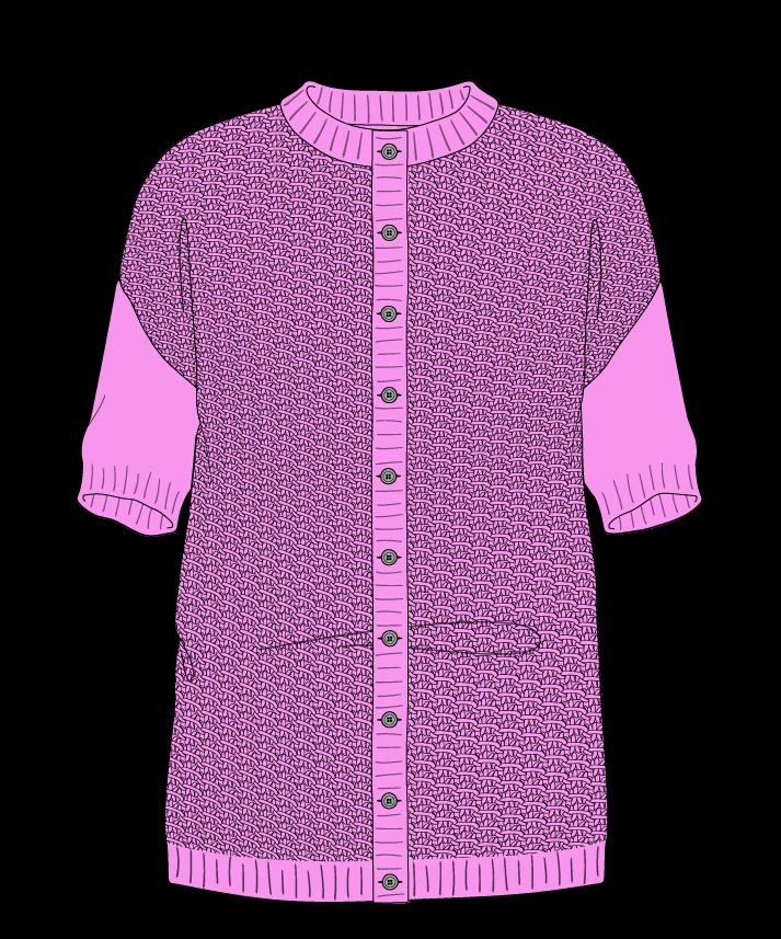 Regular fit Full length body Crew neck Short sleeve Star stitch Star stitch Plain dropshoulder-cardigan sport 46