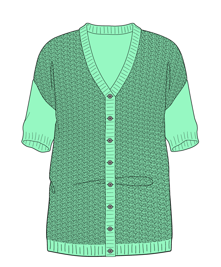 Regular fit Full length body V-neck Short sleeve Star stitch Star stitch Plain dropshoulder-cardigan worsted 30