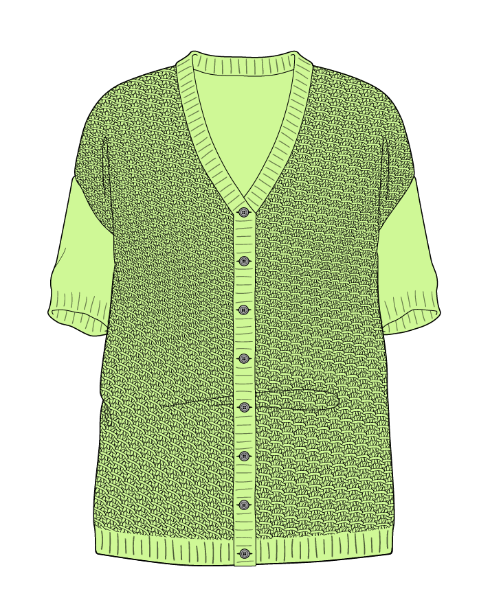 Relaxed fit Full length body V-neck Short sleeve Star stitch Star stitch Plain dropshoulder-cardigan sport 30
