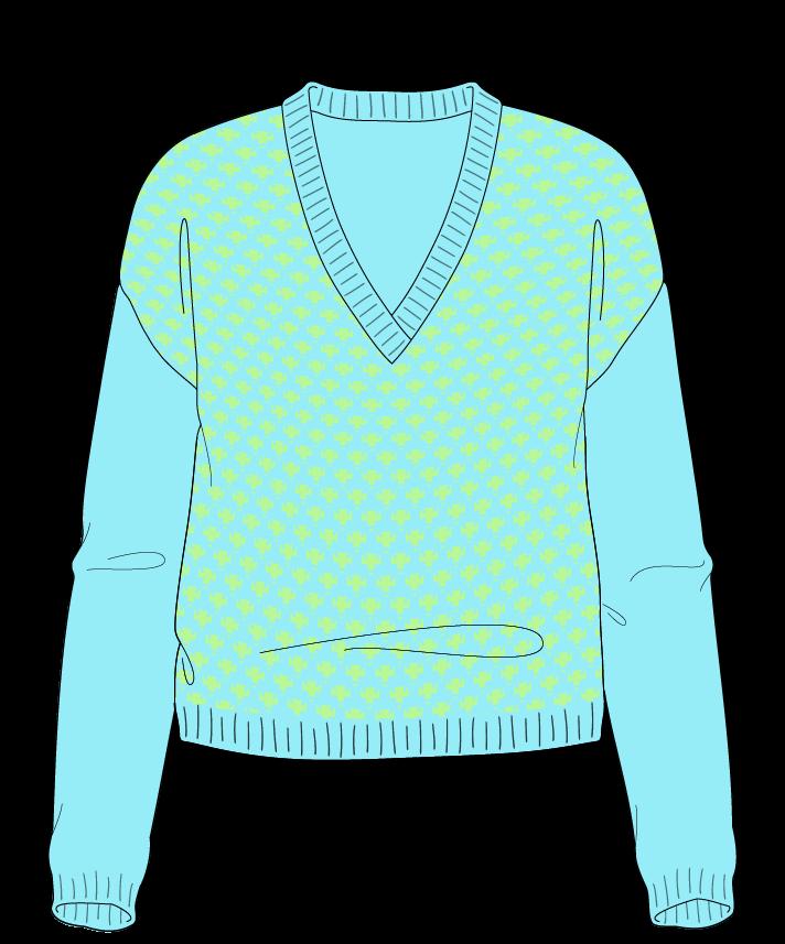 Regular fit Cropped body V-neck Long sleeve Thorn stitch Thorn stitch Plain dropshoulder sport 34