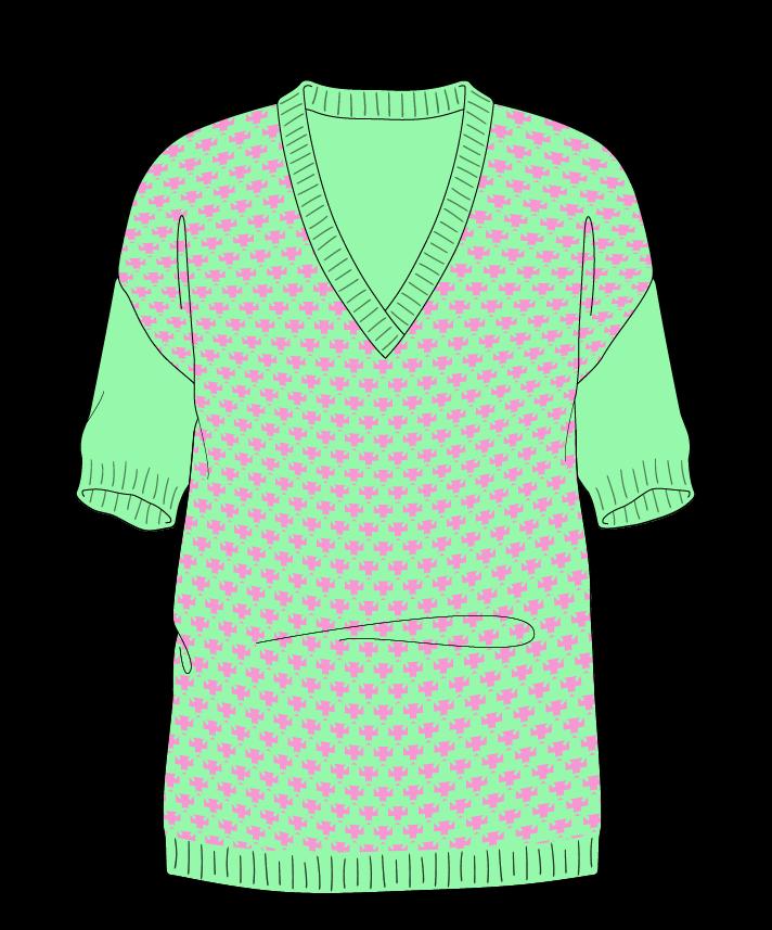 Regular fit Full length body V-neck Short sleeve Thorn stitch Thorn stitch Plain dropshoulder worsted 50