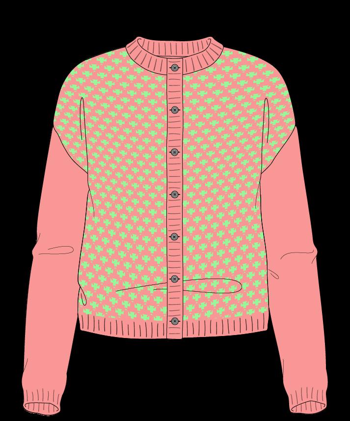 Regular fit Cropped body Crew neck Long sleeve Thorn stitch Thorn stitch Plain dropshoulder-cardigan sport 46