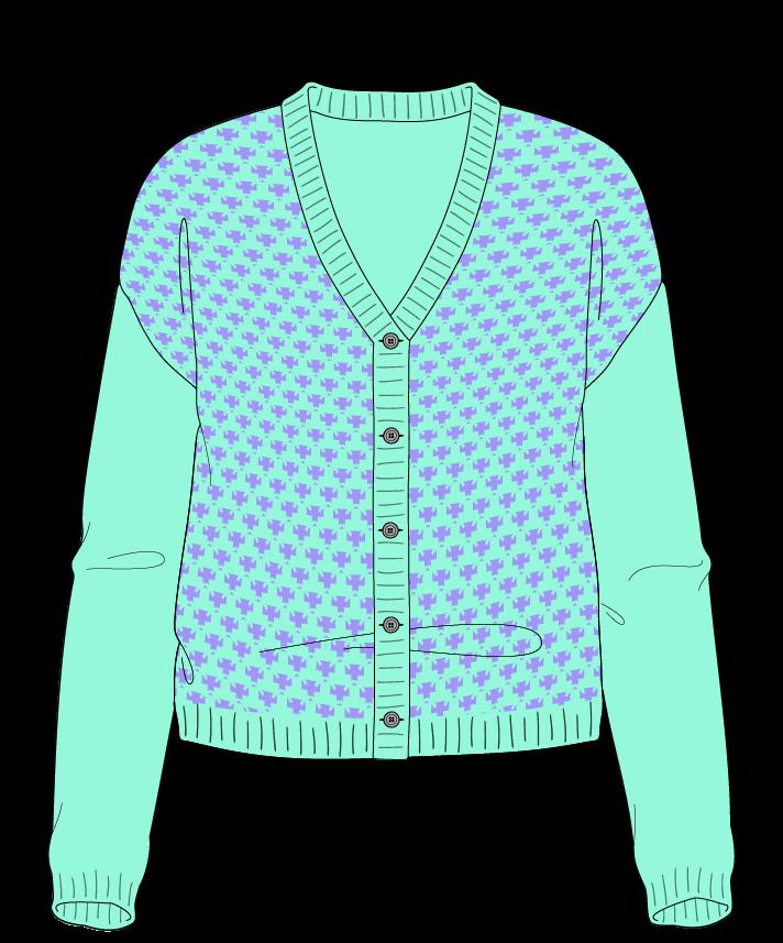 Regular fit Cropped body V-neck Long sleeve Thorn stitch Thorn stitch Plain dropshoulder-cardigan sport 30