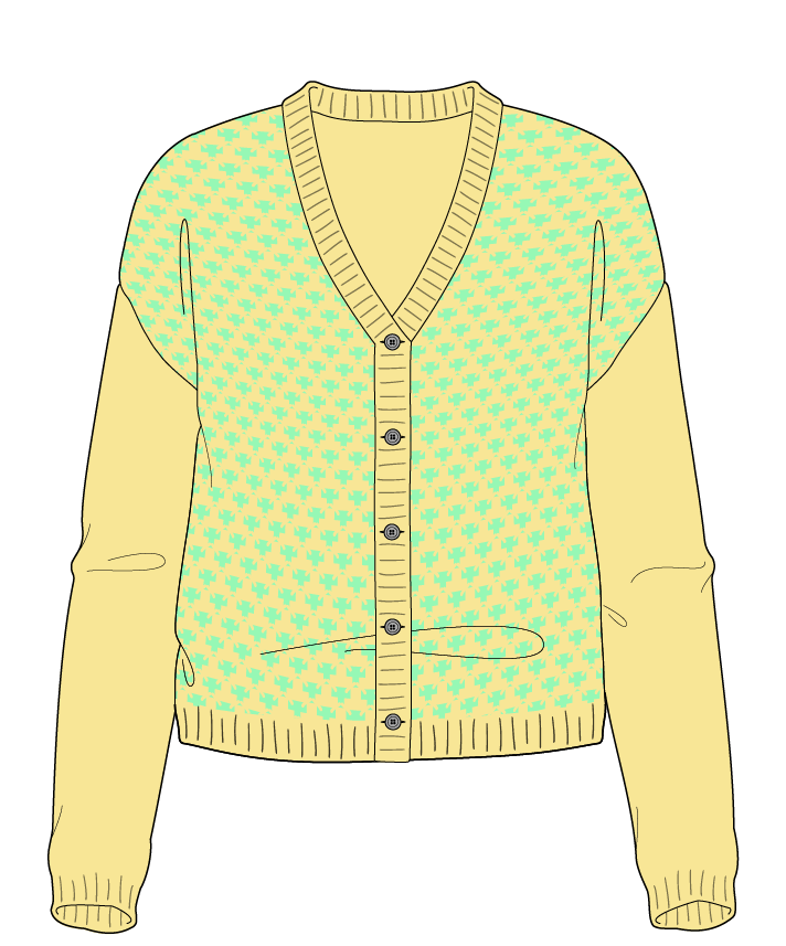 Regular fit Cropped body V-neck Long sleeve Thorn stitch Thorn stitch Plain dropshoulder-cardigan worsted 50