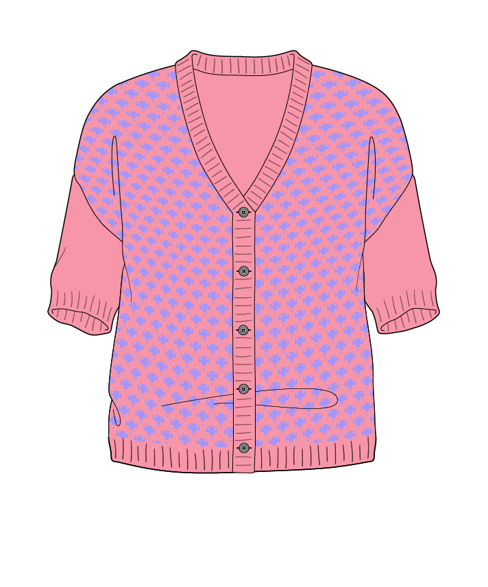 Regular fit Cropped body V-neck Short sleeve Thorn stitch Thorn stitch Plain dropshoulder-cardigan sport 54
