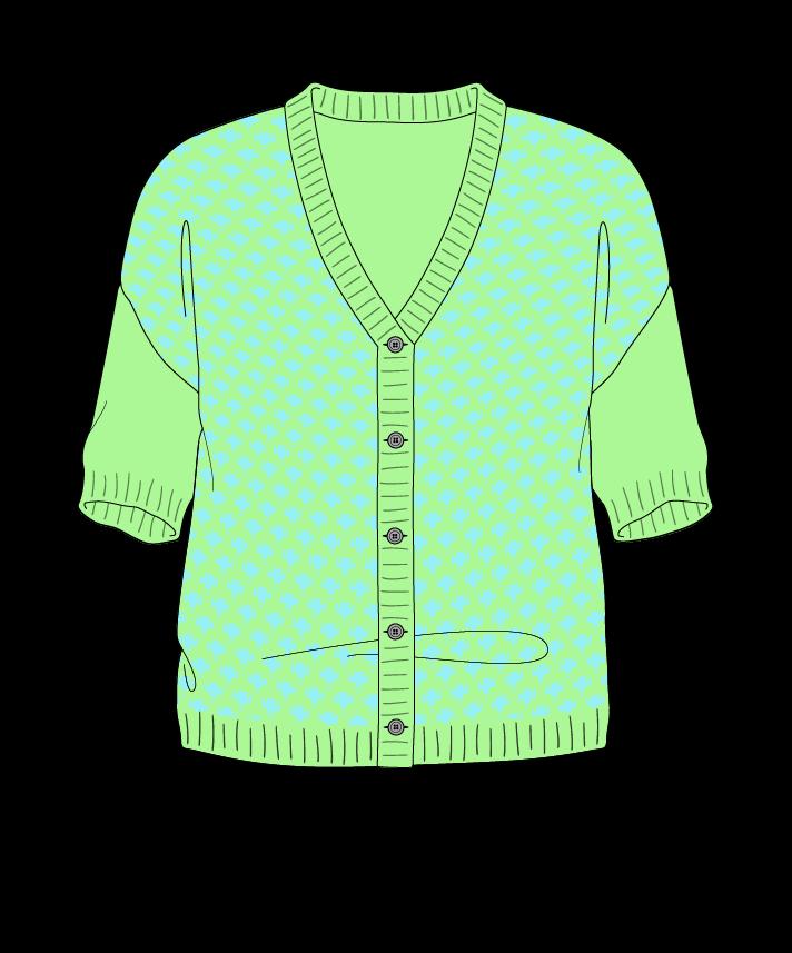 Regular fit Cropped body V-neck Short sleeve Thorn stitch Thorn stitch Plain dropshoulder-cardigan worsted 38