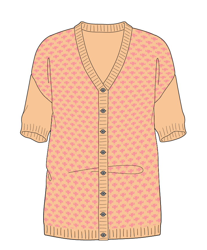 Regular fit Full length body V-neck Short sleeve Thorn stitch Thorn stitch Plain dropshoulder-cardigan sport 38