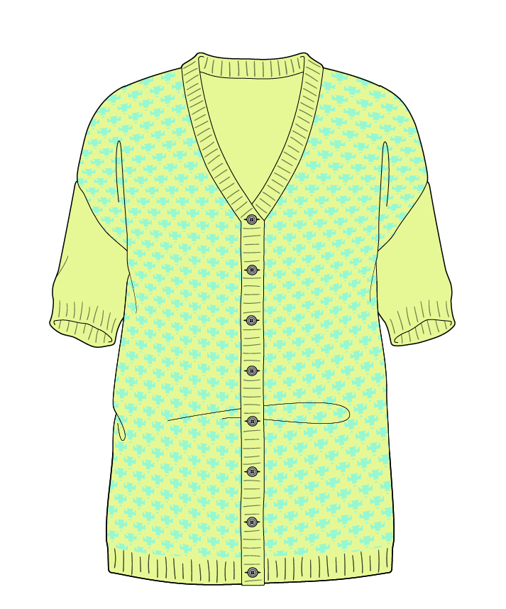 Regular fit Full length body V-neck Short sleeve Thorn stitch Thorn stitch Plain dropshoulder-cardigan worsted 46