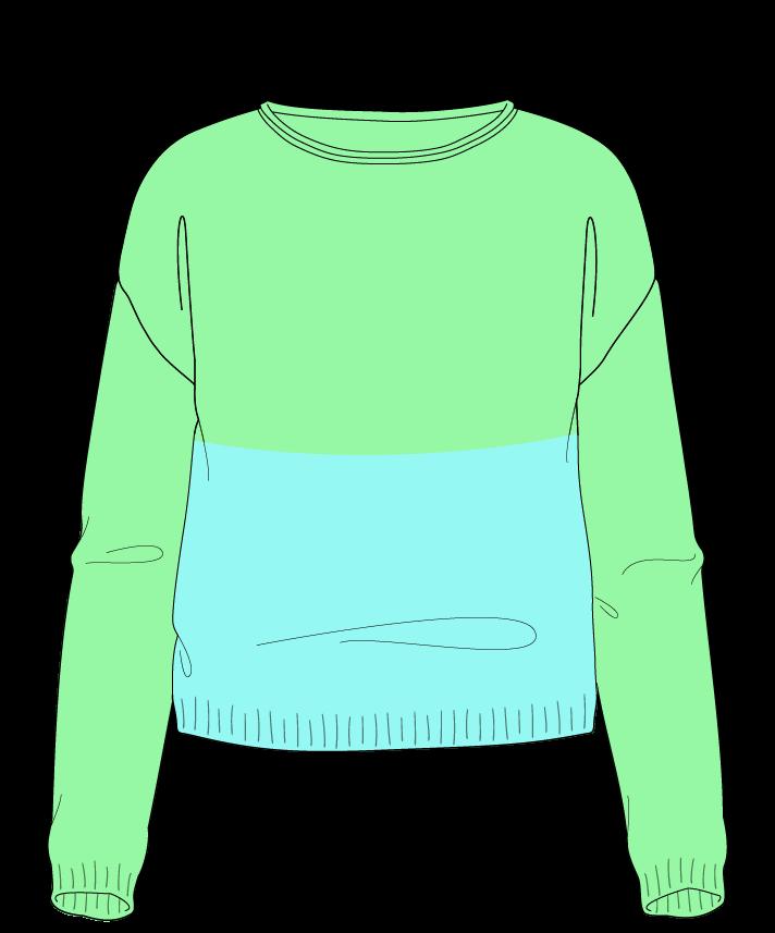 Regular fit Cropped body Boat neck Long sleeve Colorblock 1 Plain Plain dropshoulder sport 30