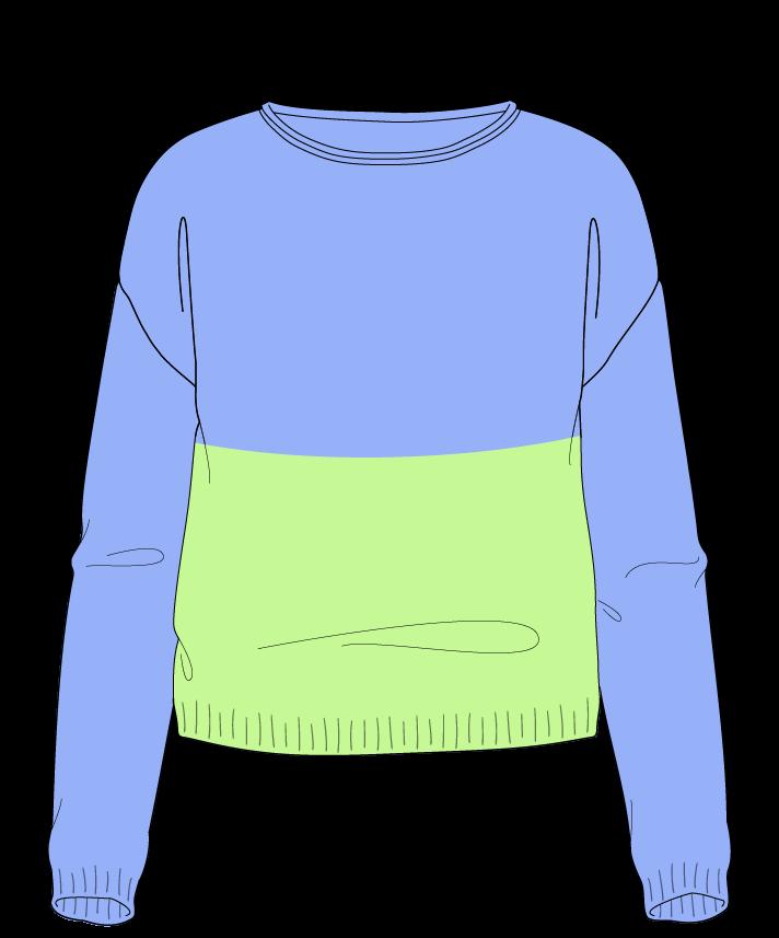Regular fit Cropped body Boat neck Long sleeve Colorblock 1 Plain Plain dropshoulder worsted 42