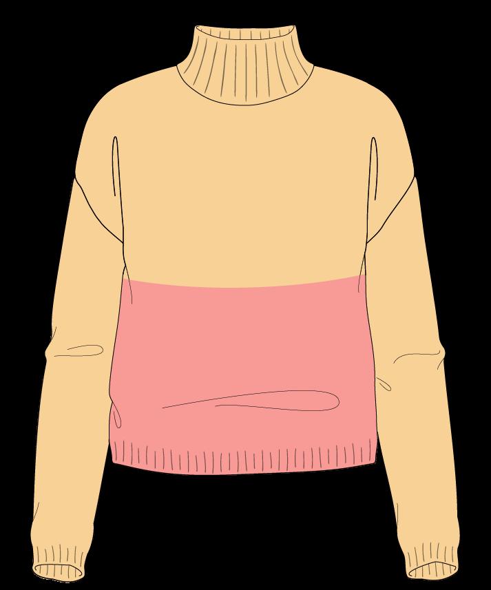 Regular fit Cropped body Mock turtleneck Long sleeve Colorblock 1 Plain Plain dropshoulder worsted 54