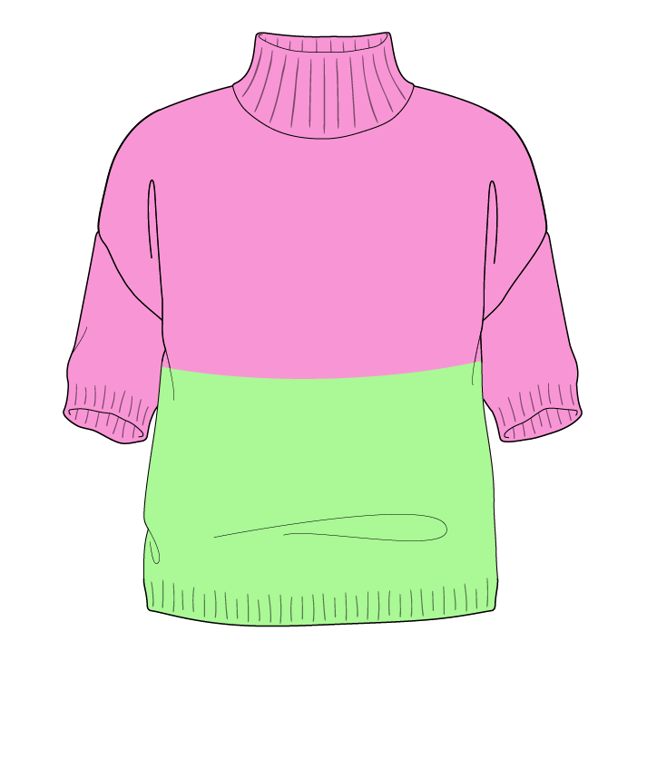 Regular fit Cropped body Mock turtleneck Short sleeve Colorblock 1 Plain Plain dropshoulder sport 46