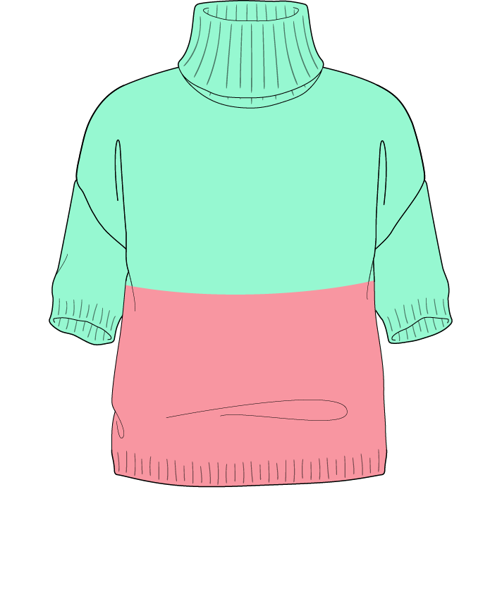 Regular fit Cropped body Turtleneck Short sleeve Colorblock 1 Plain Plain dropshoulder worsted 34