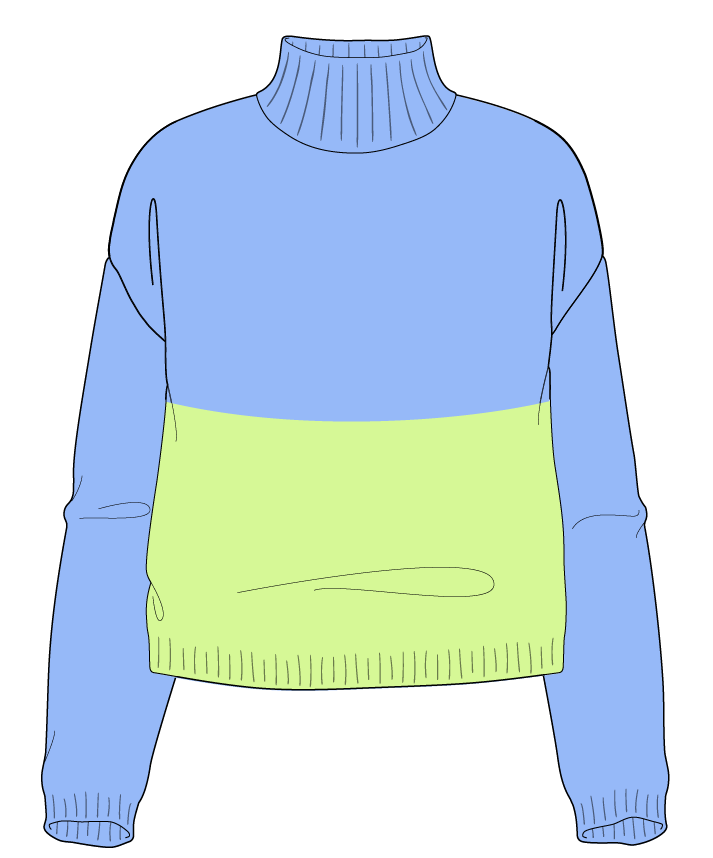 Relaxed fit Cropped body Mock turtleneck Long sleeve Colorblock 1 Plain Plain dropshoulder worsted 42