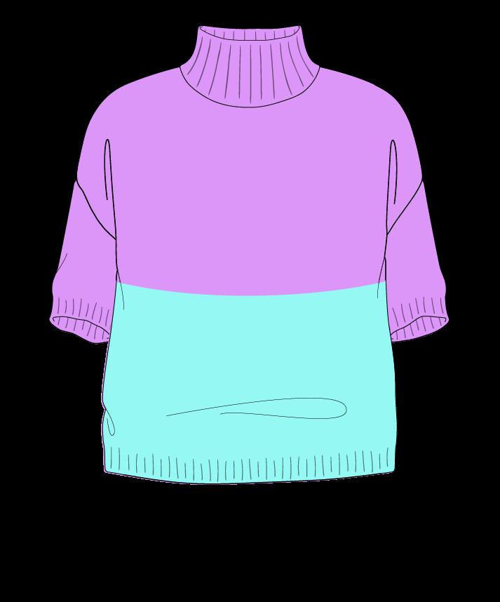 Relaxed fit Cropped body Mock turtleneck Short sleeve Colorblock 1 Plain Plain dropshoulder sport 54