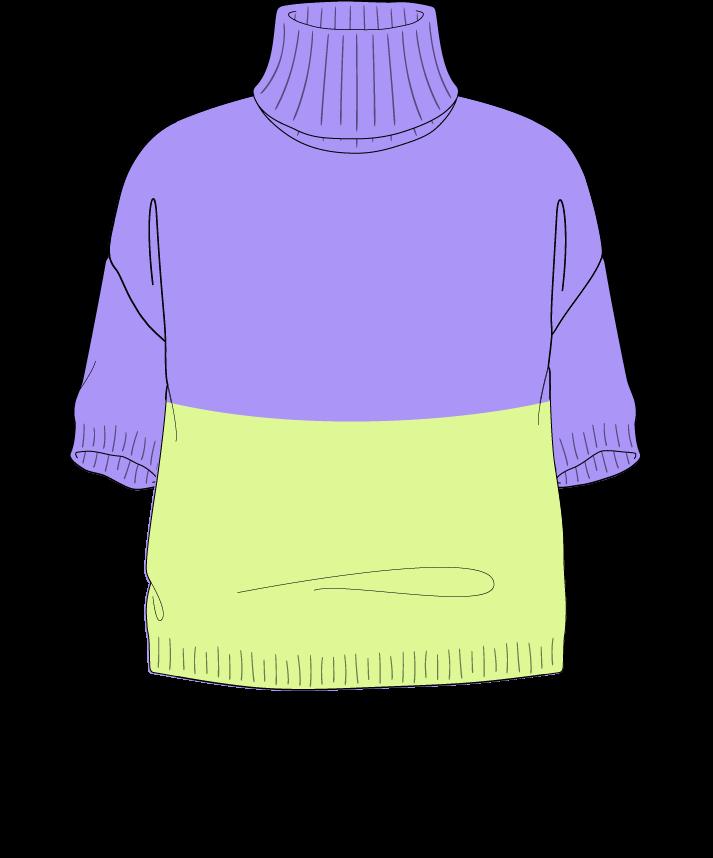 Relaxed fit Cropped body Turtleneck Short sleeve Colorblock 1 Plain Plain dropshoulder sport 54