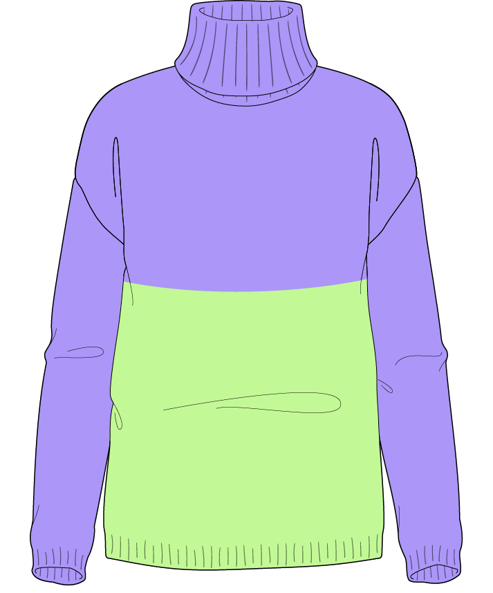 Regular fit Full length body Turtleneck Long sleeve Colorblock 1 Plain Plain dropshoulder sport 50