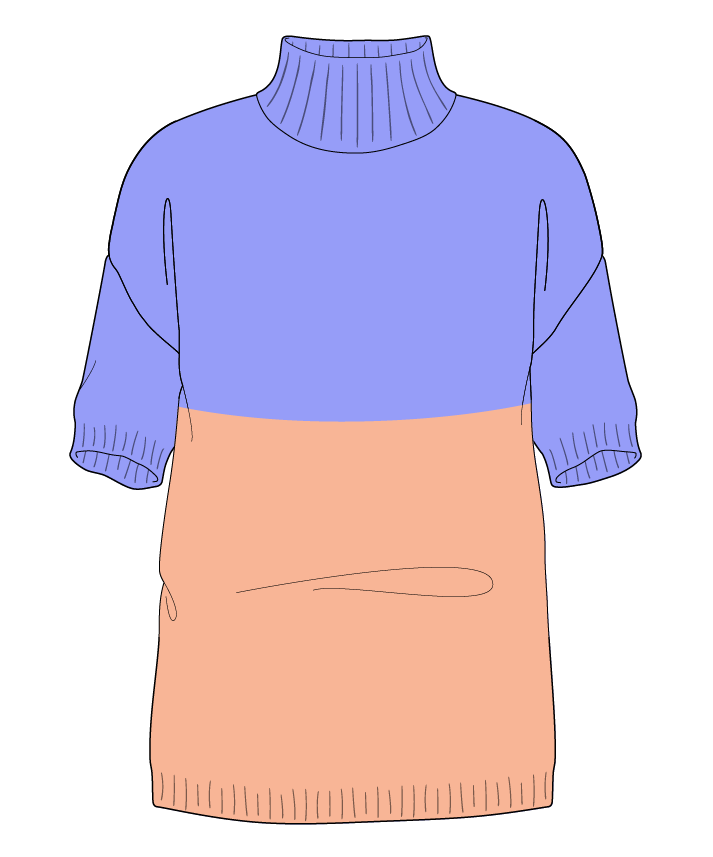 Regular fit Full length body Mock turtleneck Short sleeve Colorblock 1 Plain Plain dropshoulder sport 30