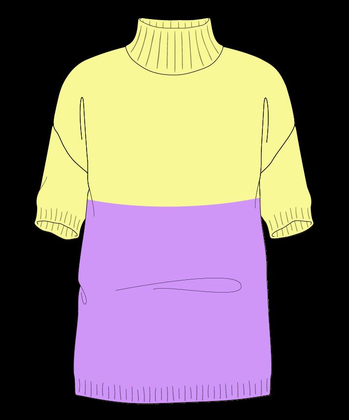 Regular fit Full length body Mock turtleneck Short sleeve Colorblock 1 Plain Plain dropshoulder worsted 42