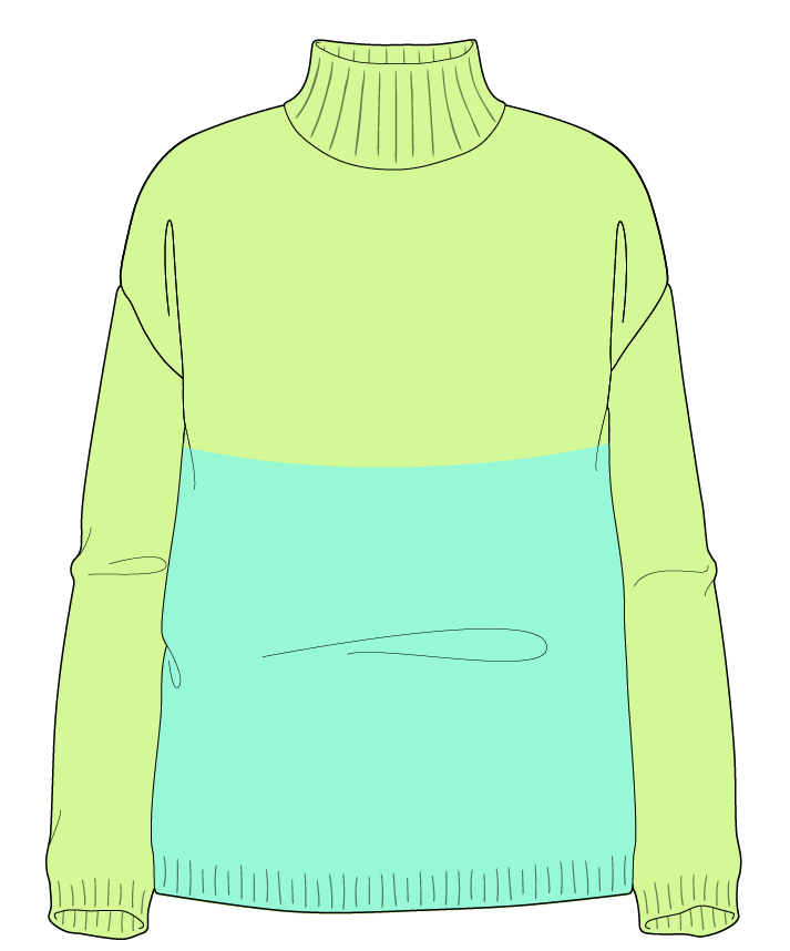 Relaxed fit Full length body Mock turtleneck Long sleeve Colorblock 1 Plain Plain dropshoulder sport 38