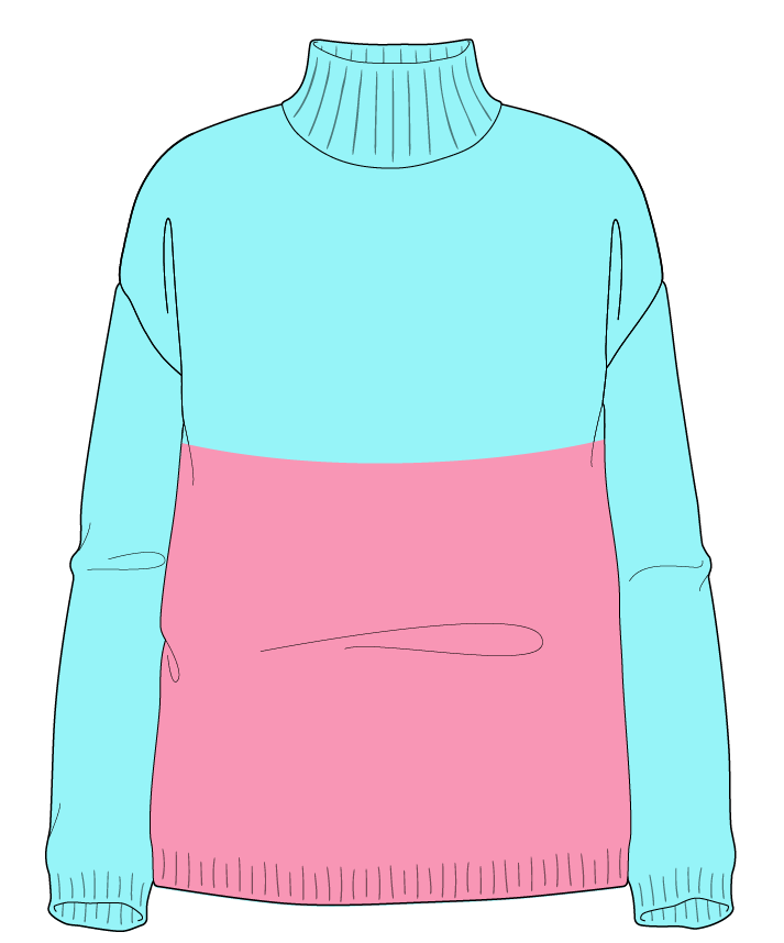 Relaxed fit Full length body Mock turtleneck Long sleeve Colorblock 1 Plain Plain dropshoulder worsted 38