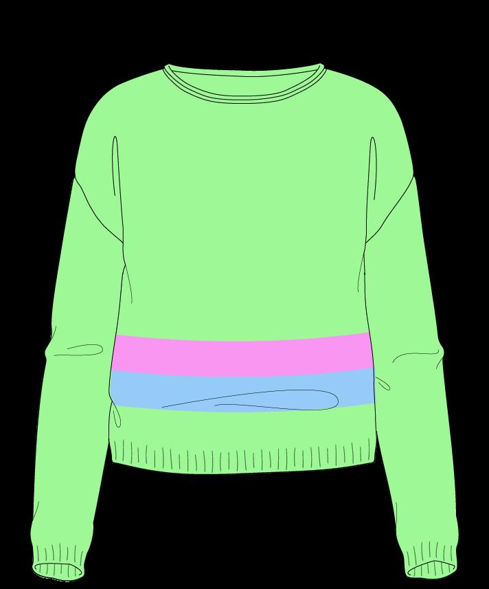Regular fit Cropped body Boat neck Long sleeve Chunky stripes Plain Plain dropshoulder sport 46