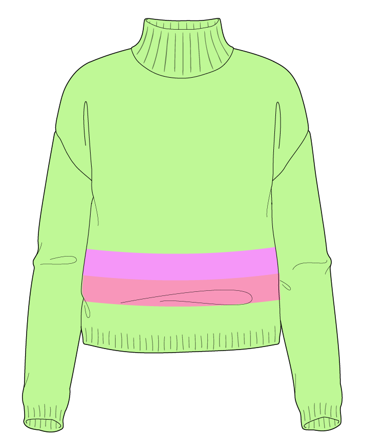 Regular fit Cropped body Mock turtleneck Long sleeve Chunky stripes Plain Plain dropshoulder sport 54