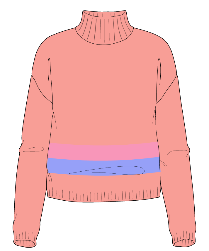 Regular fit Cropped body Mock turtleneck Long sleeve Chunky stripes Plain Plain dropshoulder worsted 42