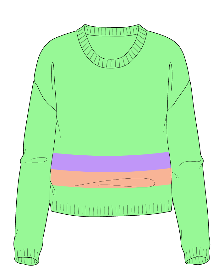 Regular fit Cropped body Scoop neck Long sleeve Chunky stripes Plain Plain dropshoulder sport 34