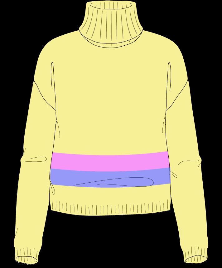 Regular fit Cropped body Turtleneck Long sleeve Chunky stripes Plain Plain dropshoulder sport 38