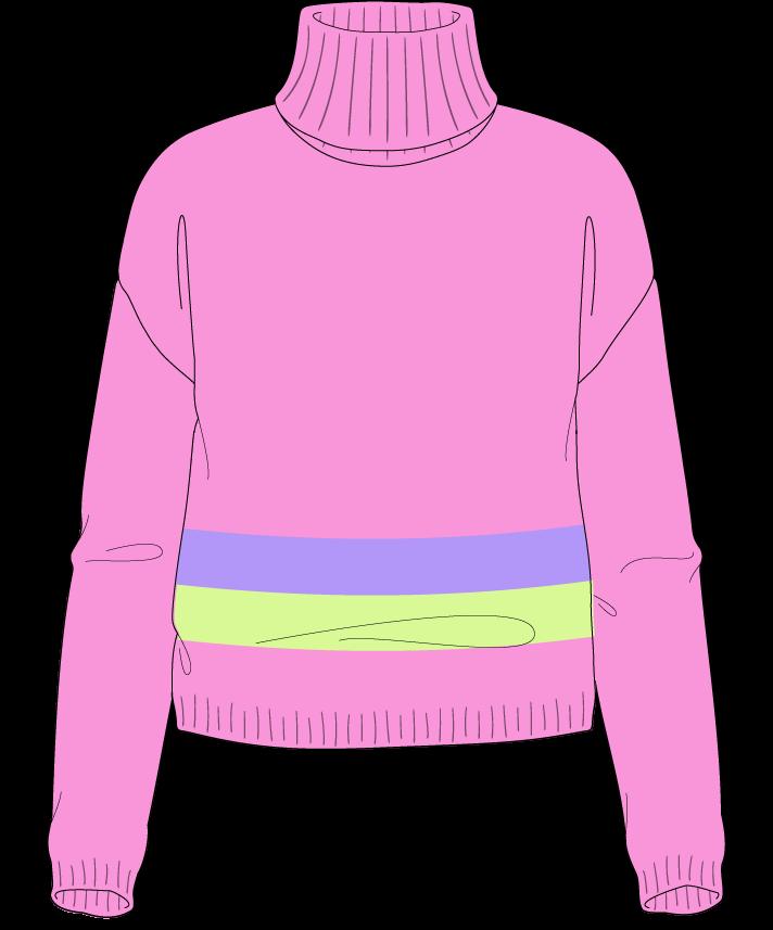 Regular fit Cropped body Turtleneck Long sleeve Chunky stripes Plain Plain dropshoulder worsted 30