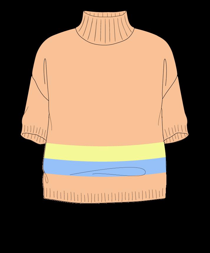 Relaxed fit Cropped body Mock turtleneck Short sleeve Chunky stripes Plain Plain dropshoulder sport 54