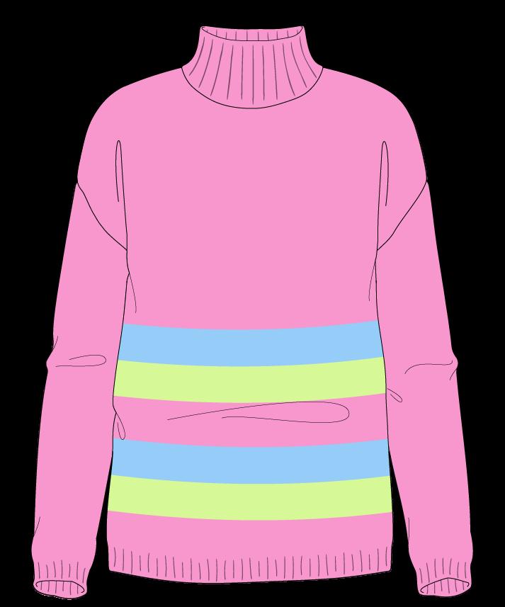 Regular fit Full length body Mock turtleneck Long sleeve Chunky stripes Plain Plain dropshoulder sport 30