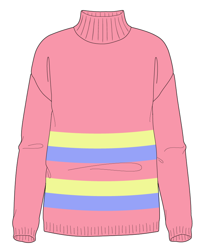 Regular fit Full length body Mock turtleneck Long sleeve Chunky stripes Plain Plain dropshoulder worsted 38