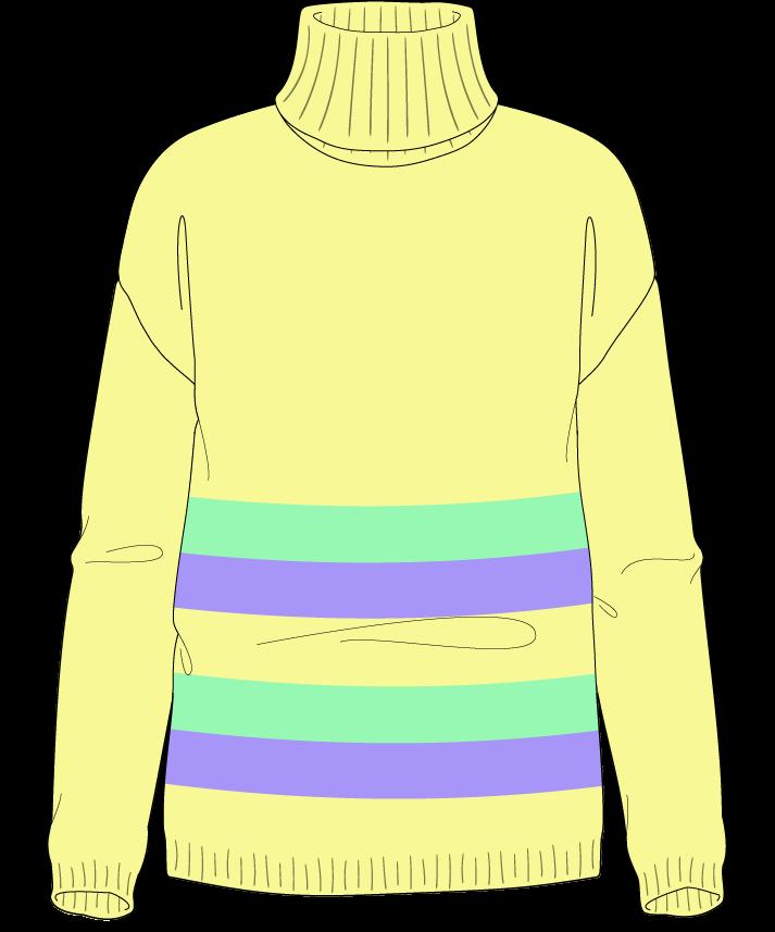 Regular fit Full length body Turtleneck Long sleeve Chunky stripes Plain Plain dropshoulder sport 30