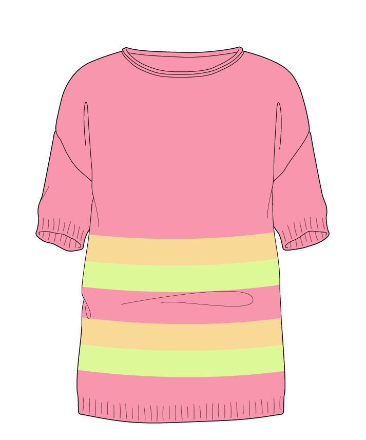 Regular fit Full length body Boat neck Short sleeve Chunky stripes Plain Plain dropshoulder sport 34