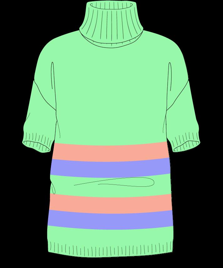 Regular fit Full length body Turtleneck Short sleeve Chunky stripes Plain Plain dropshoulder sport 38