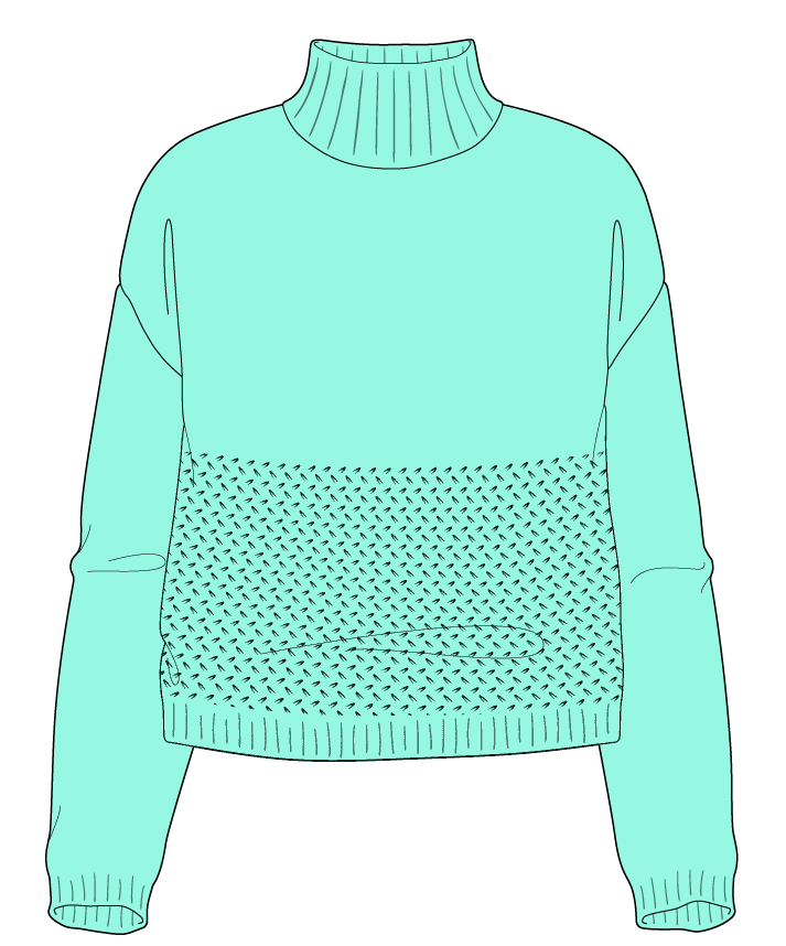Relaxed fit Cropped body Mock turtleneck Long sleeve Wild oats Plain Plain dropshoulder worsted 34