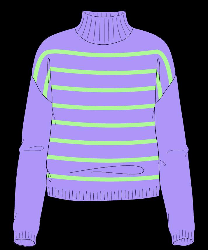 Regular fit Cropped body Mock turtleneck Long sleeve Narrow stripes Narrow stripes Plain dropshoulder worsted 38